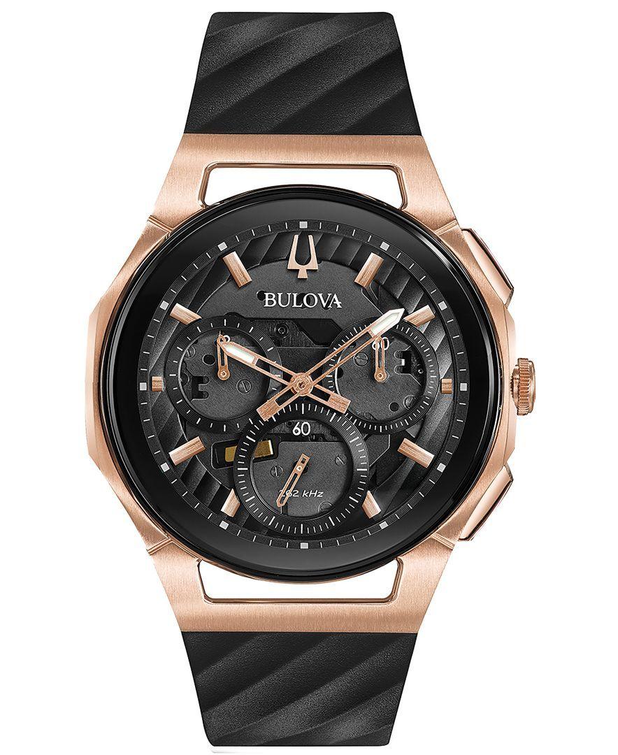 Bulova Men's Chronograph Curv Diamond-Accent Black Rubber Strap Watch 44mm