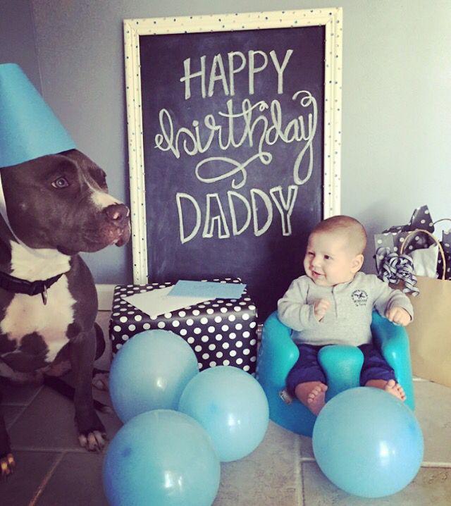 Happy Birthday Daddy Chalkboard Baby Pitbull Gifts