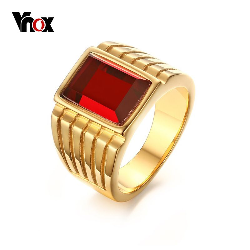 Vnox Big Red Stone Rings for Men Jewelry Cool Gold Plated Rings
