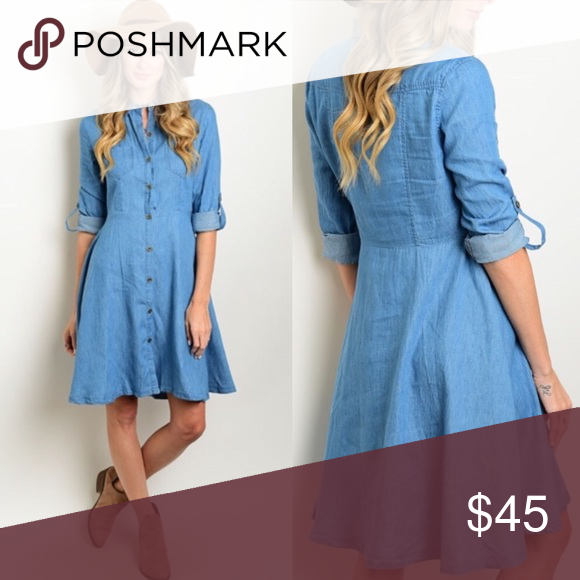 Coming Soon! Denim Dress button down 3/4 sleeve! Material: Cotton Blend Dresses