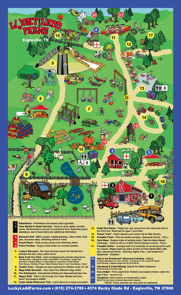Map Of Farm Attractions Lucky Ladd Farms Tennessee Farm Tourism Farm Layout Agritourism