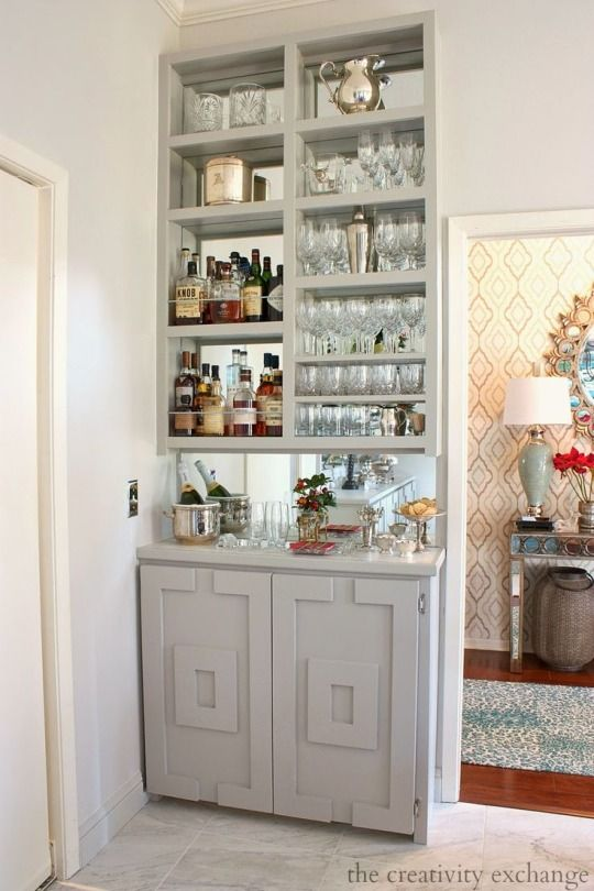 A Small Space Built In Mirrored Bar Home Bar Rooms Home Bar