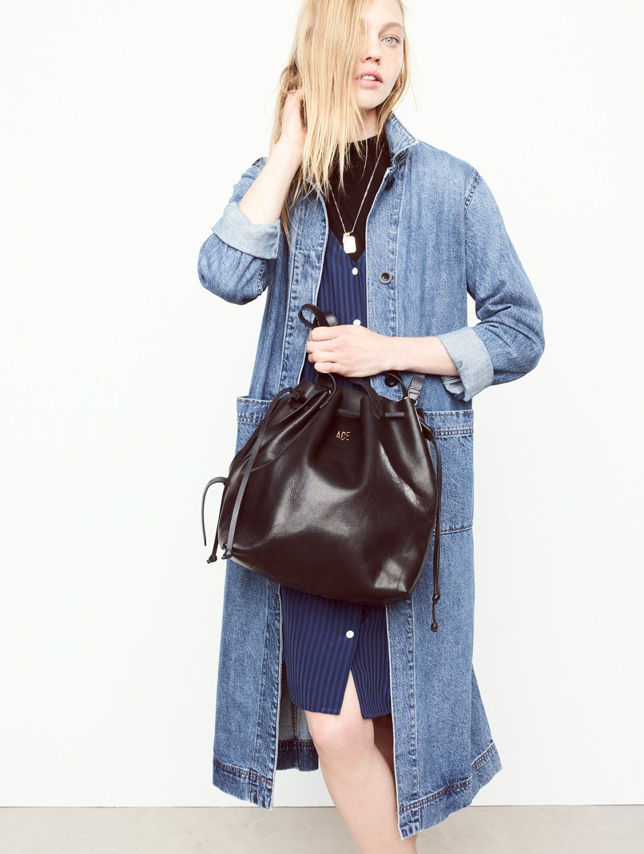 9cc6009cbc madewell medium drawstring transport tote worn with the denim duster coat +  autumn dress.