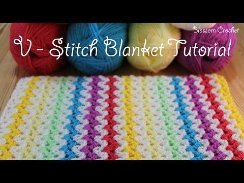 Super Easy Crochet V Stitch Blanketscarf Youtube Crochet