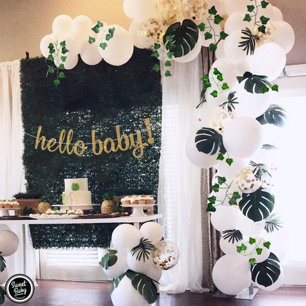 Sweet Baby Co. Boho Fake Greenery Baby Shower Decorations Neutral with Balloon Garland Arch Kit, Oh Baby Banner, Green Ivy Leaf Garland Vines Decoration Decor for Jungle Safari Woodland Backdrop Theme