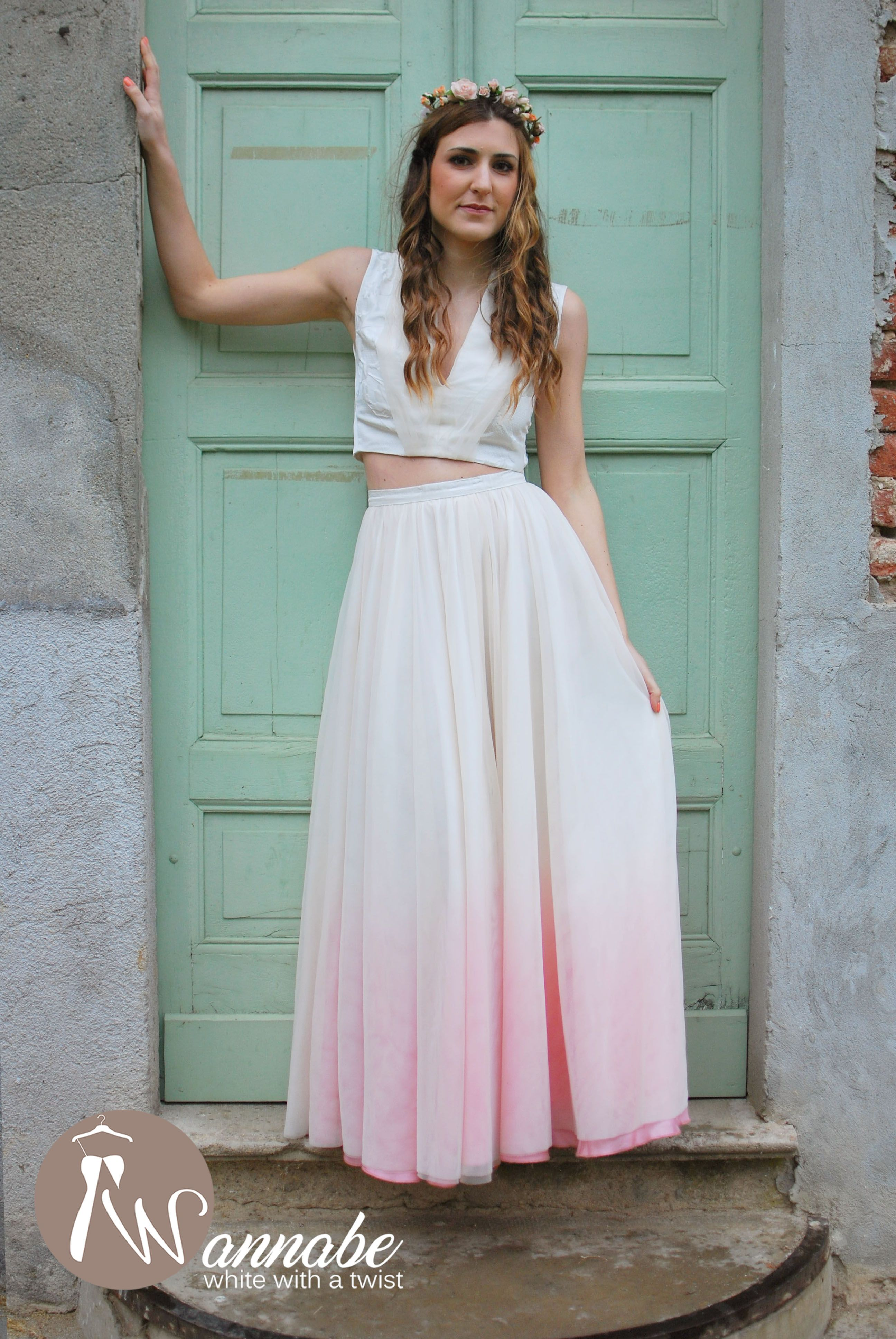 Two pieces wedding dress, ombre skirt and crop top with deep V ...