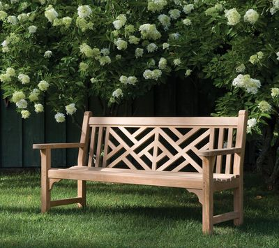 Kingsley Bate Teak Chippendale Bench, Perfect For A Formal Garden.