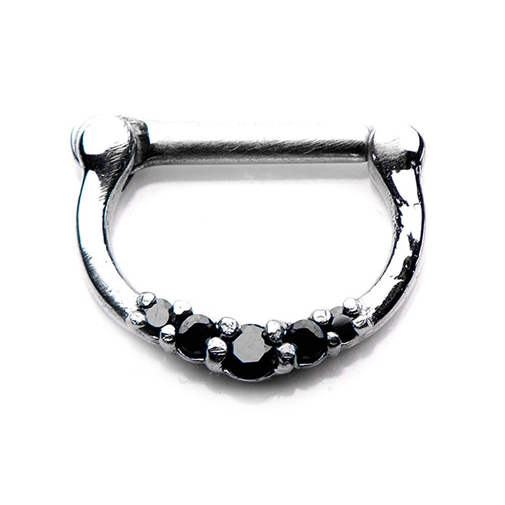 Body Vibe Jewelry Septum Clicker 5 Gems 16g 10mm 3 8 X 8mm 5 16 Black Bodyvibe Bodyjewelry Septum Pier With Images Septum Clicker Alternative Jewelry Jewelry