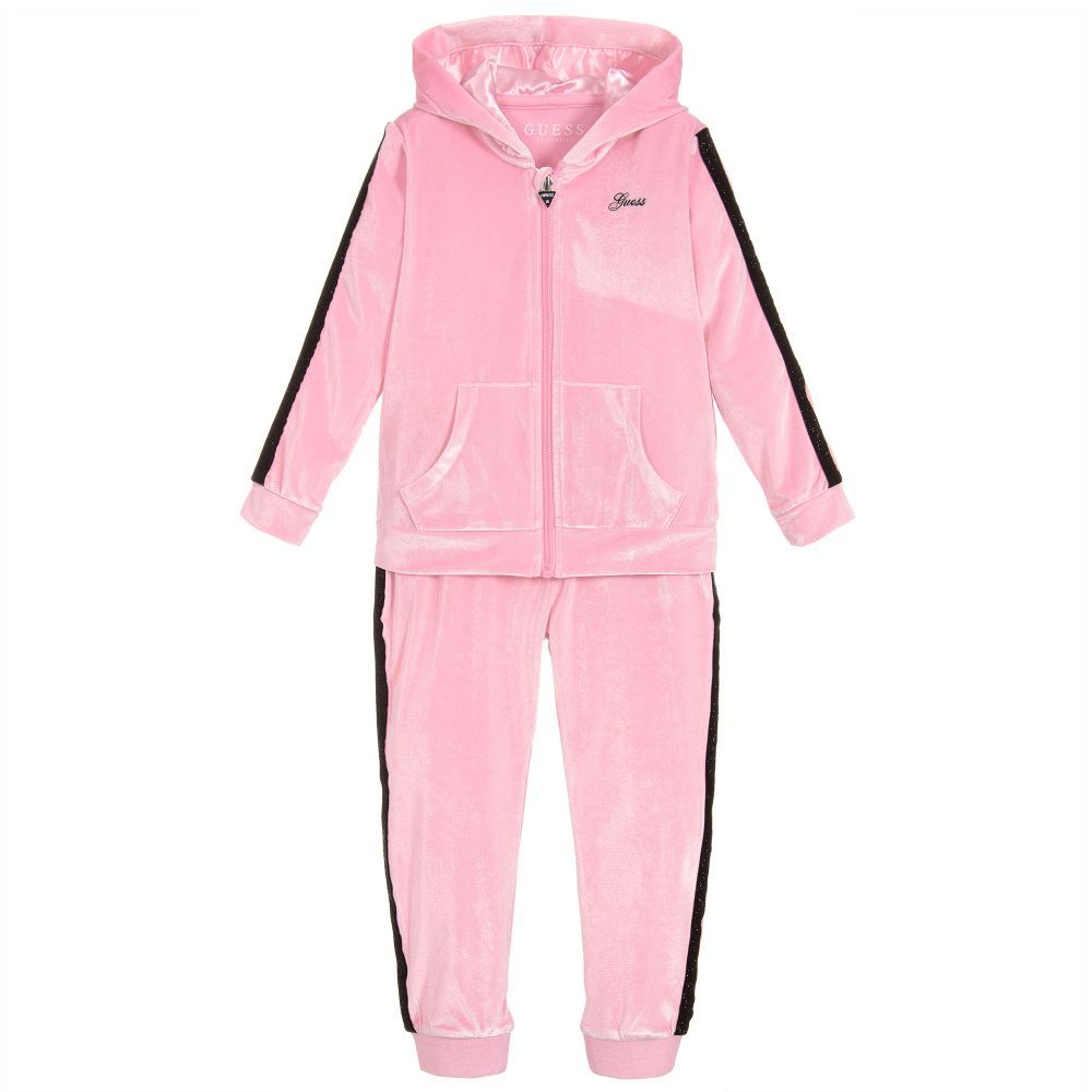 019d485bda7a Girls Pink Velour Tracksuit for Girl by Guess. Discover more beautiful  designer Tracksuits for kids online
