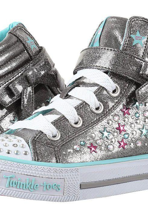 Aldo Myrona SKECHERS KIDS Girl's Twinkle Toes - Shuffles 10712L Lights (Little Kid/Big Kid) Gunmetal/Turquoise Shoe  38 EU tOBVi529kW