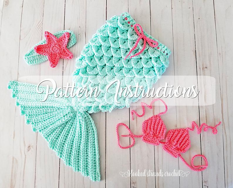 Baby mermaid tail PATTERN, Newborn – 3 Months, Crochet outfit, Infant photo prop ENGLISH pattern