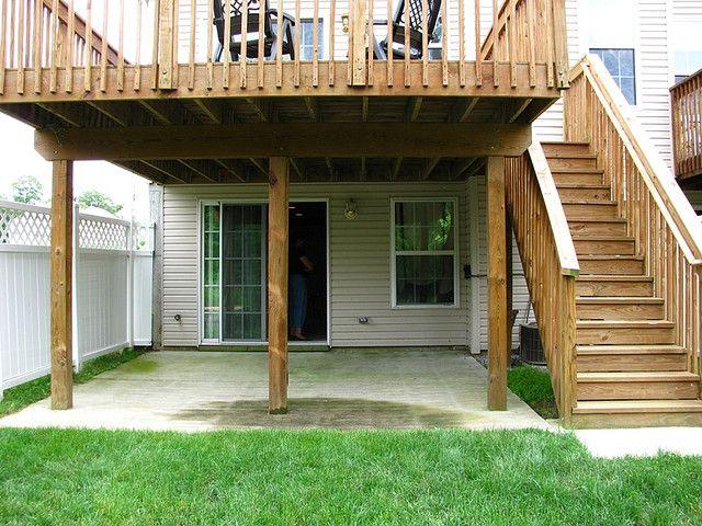PATIO FROM WALK OUT BASEMENT   Patio under decks, Concrete ... on Walkout Patio Ideas id=55847