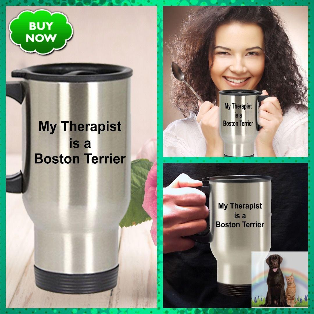Boston terrier dog therapist travel mug giftformen
