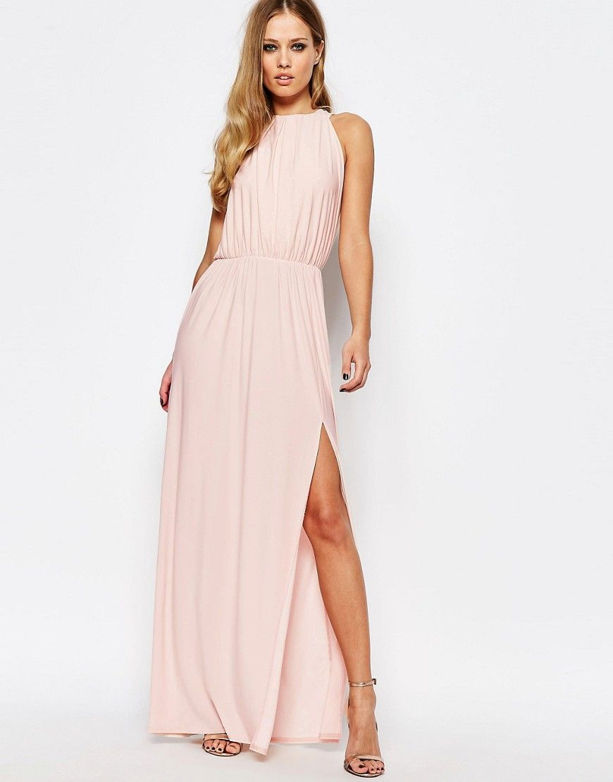 Lulus wedding guest dresses  Image  of Love High Neck Cowl Back Draped Maxi Dress  Style