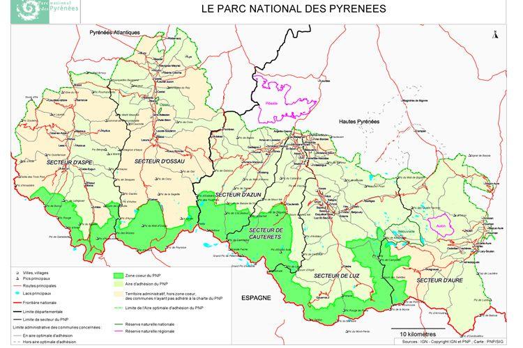 Carte Detaillee Du Parc National Des Pyrenees Parc National Des