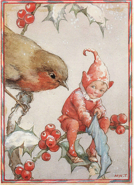Vintage Books and Illustrators Tarrant was prolific in illustrating the fairy world. I love everything about this Christmas card--the subdued and limited color palette, the cuteness of the little robin and that sweet expression on the little elf's face. Tarrant illustrated postcards and calendars for the Medici Society.
