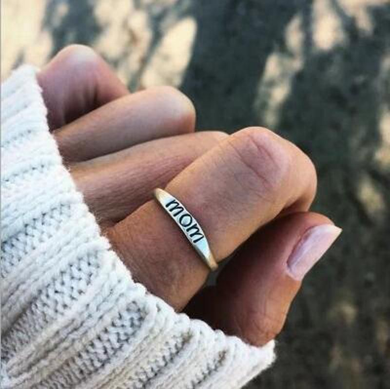 2mm Hammered Sterling Silver Personalized Ring Band Mom Rings Custom Eco Friendly Recycled Silver. Mothers Day Gift Family Rings