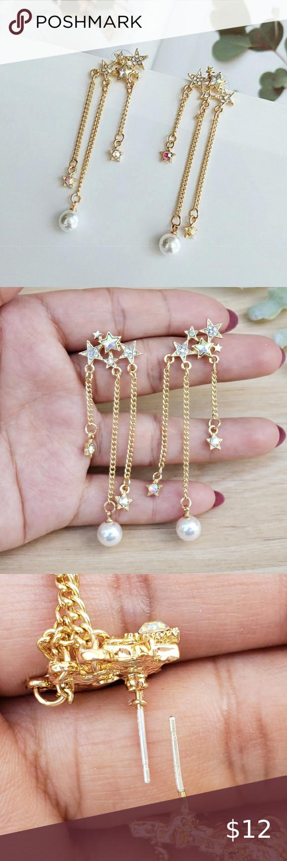 Faux pearl stars drop 925 silver earrings in 2020 925