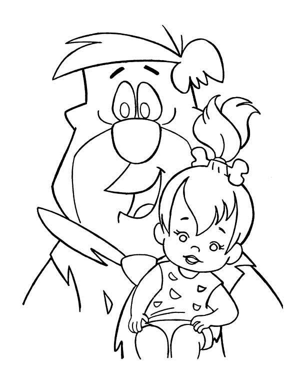 The Flintstones Fred Taking Care Of Pebbles In The Flintstones