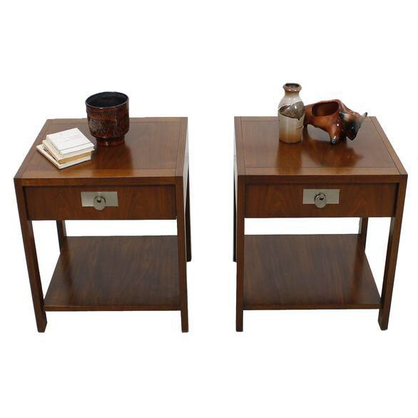 Michael Taylor for Baker Walnut Side Tables A Pair