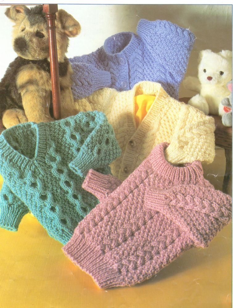 Pdf Digital Childrens Knitting Pattern Aran Cardigan Sweaters