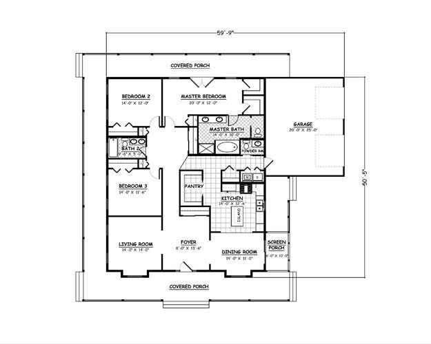 Plan #423-01 - 3 Bedroom, 25 Bath, 1981/Sqft Southern Farmhouse