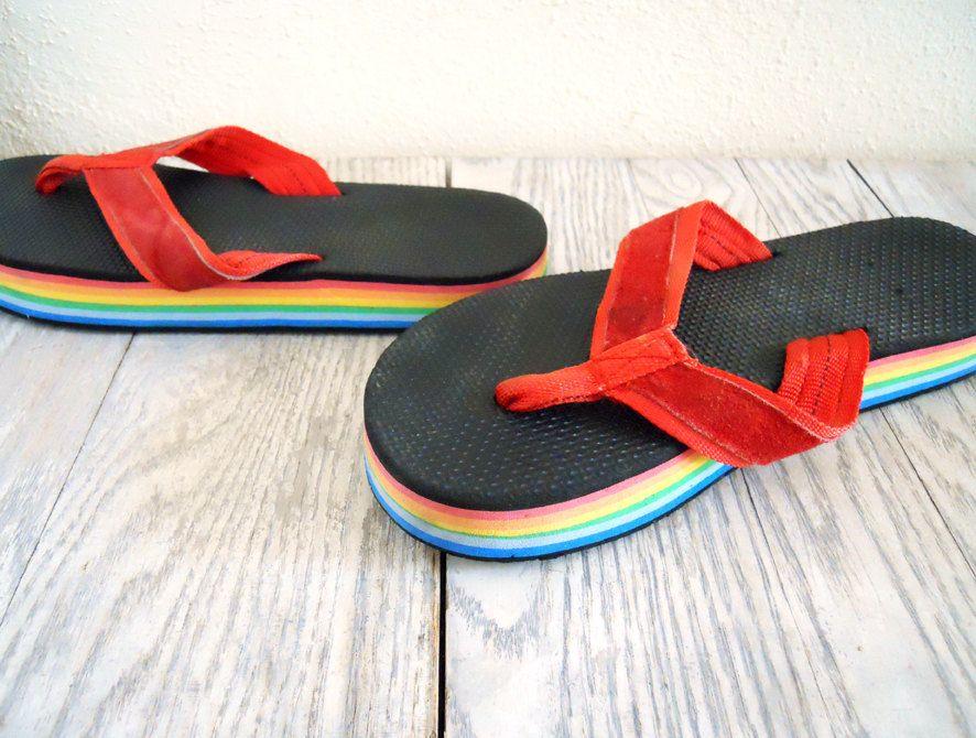39de73aa52a3 Vintage Rainbow Flip Flops wth Suede Strap and Slight Platform ...
