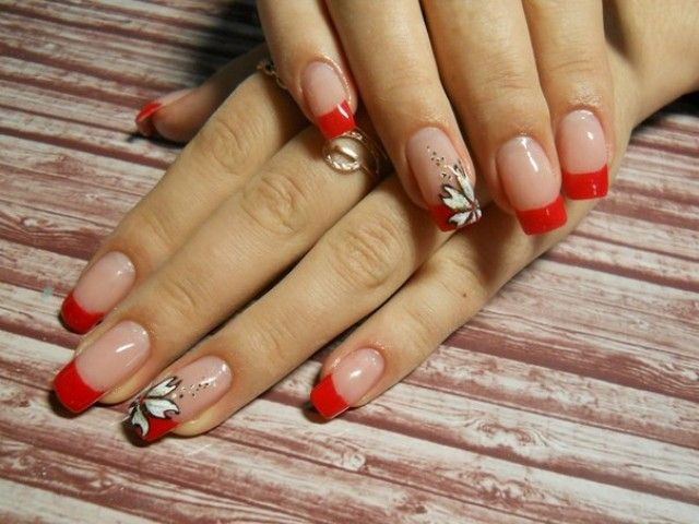 nagel galeri katya nails french glitzer rot nageldesign. Black Bedroom Furniture Sets. Home Design Ideas