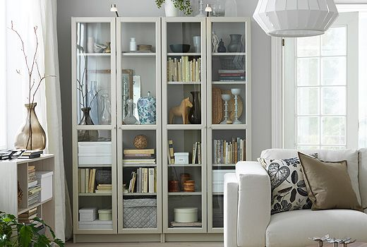 The Ikea Billy Bookshelves Come In Beige And Other Colors And Have Adjustable Shelves That Ikea Living Room Bookcase With Glass Doors Small Living Room Chairs
