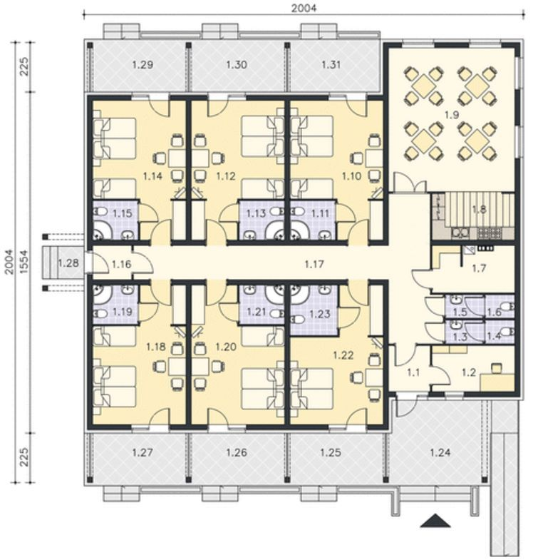 Plano de hotel peque o terranio terranio pinterest - Plantas para habitacion ...