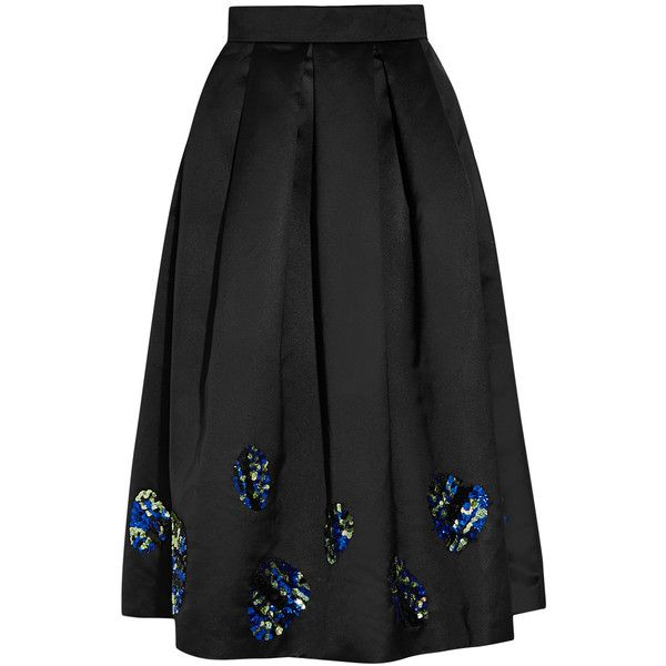 Lulu & Co Sequin-embellished satin midi skirt ($250) ❤ liked on Polyvore featuring skirts, saias, calf length skirts, embellished skirt, midi skirt, mid-calf skirt and sequin skirt