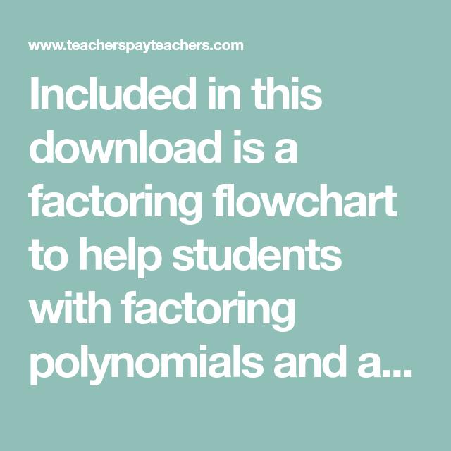 Factoring Trinomials Graphic Organizer And Flowchart Math