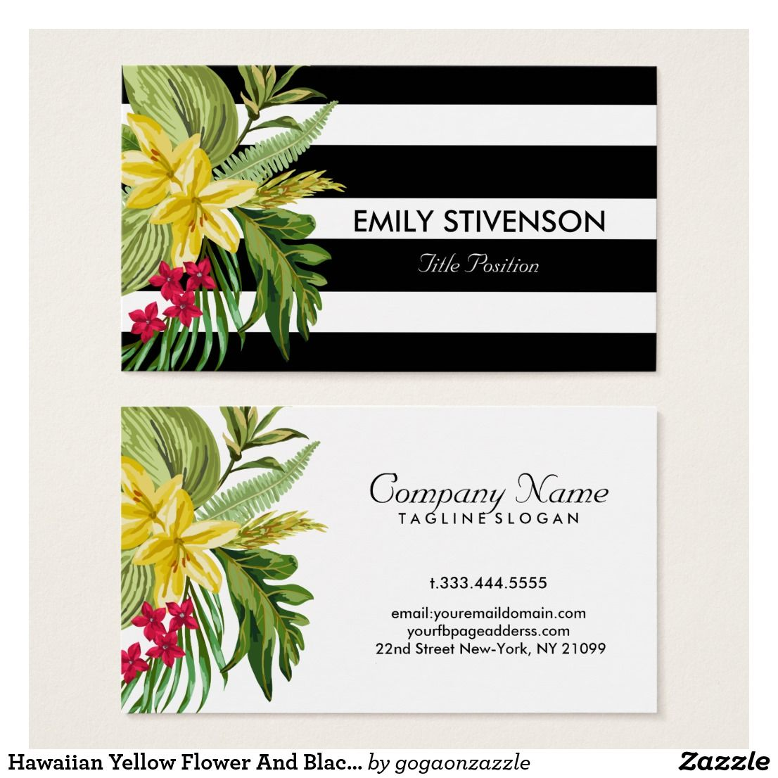 Hawaiian Yellow Flower And Black White Stripes Business Card ...