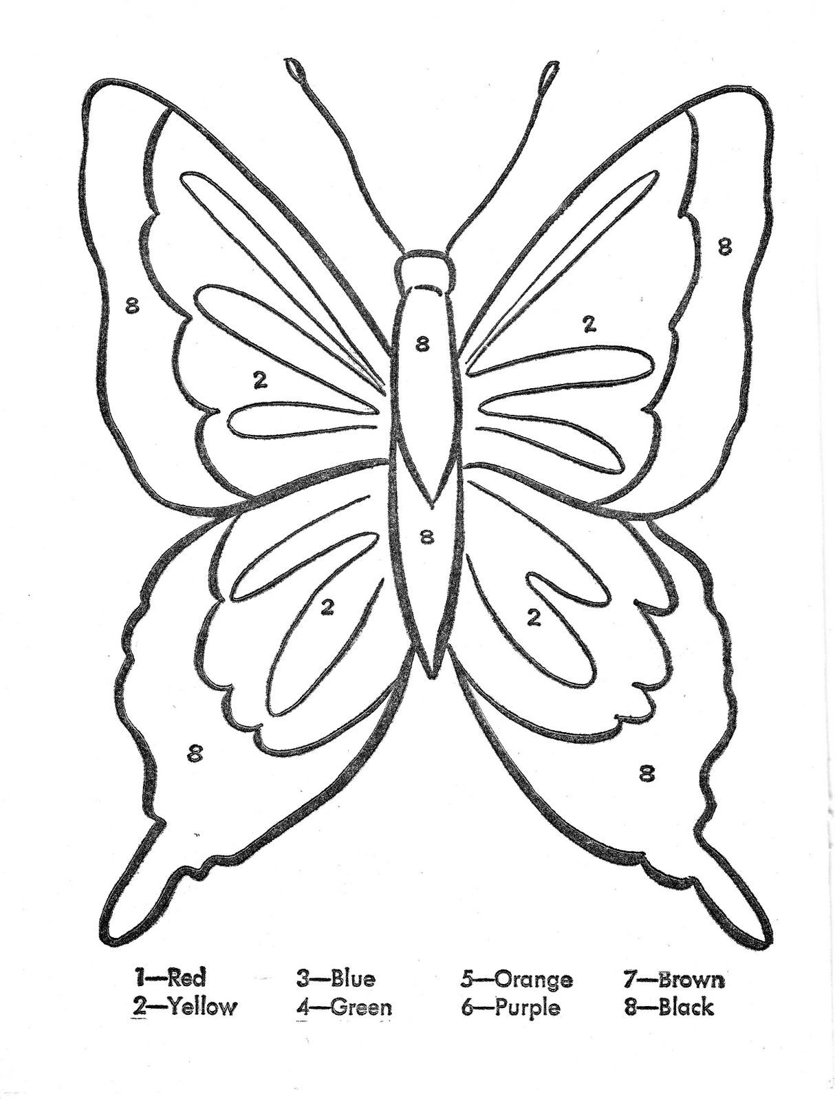 Color By Number Butterfly Coloring Page Ladybug Coloring Page