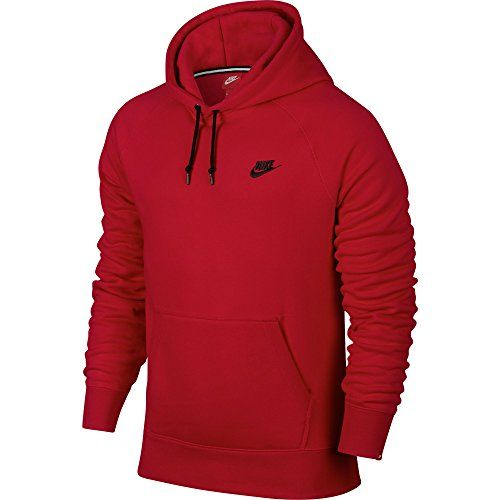 NIKE Nike Sports Wear Aw77 Fleece Hoodie Squardon Gym Red/Black 598707-658.