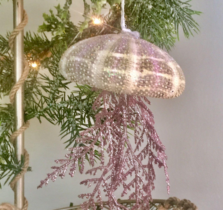nautical christmas ornaments, jellyfish ornaments, sea urchin
