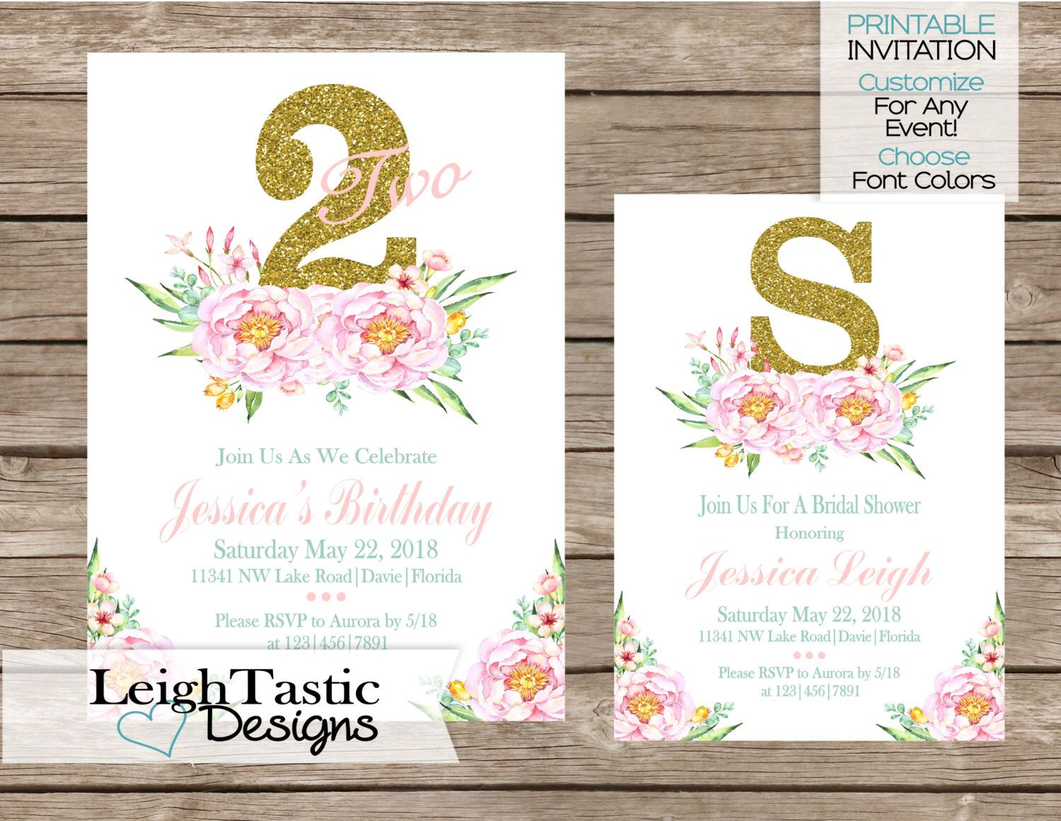 PRINTABLE INVITATION Floral Party Invitation, Birthday Party, Bridal ...