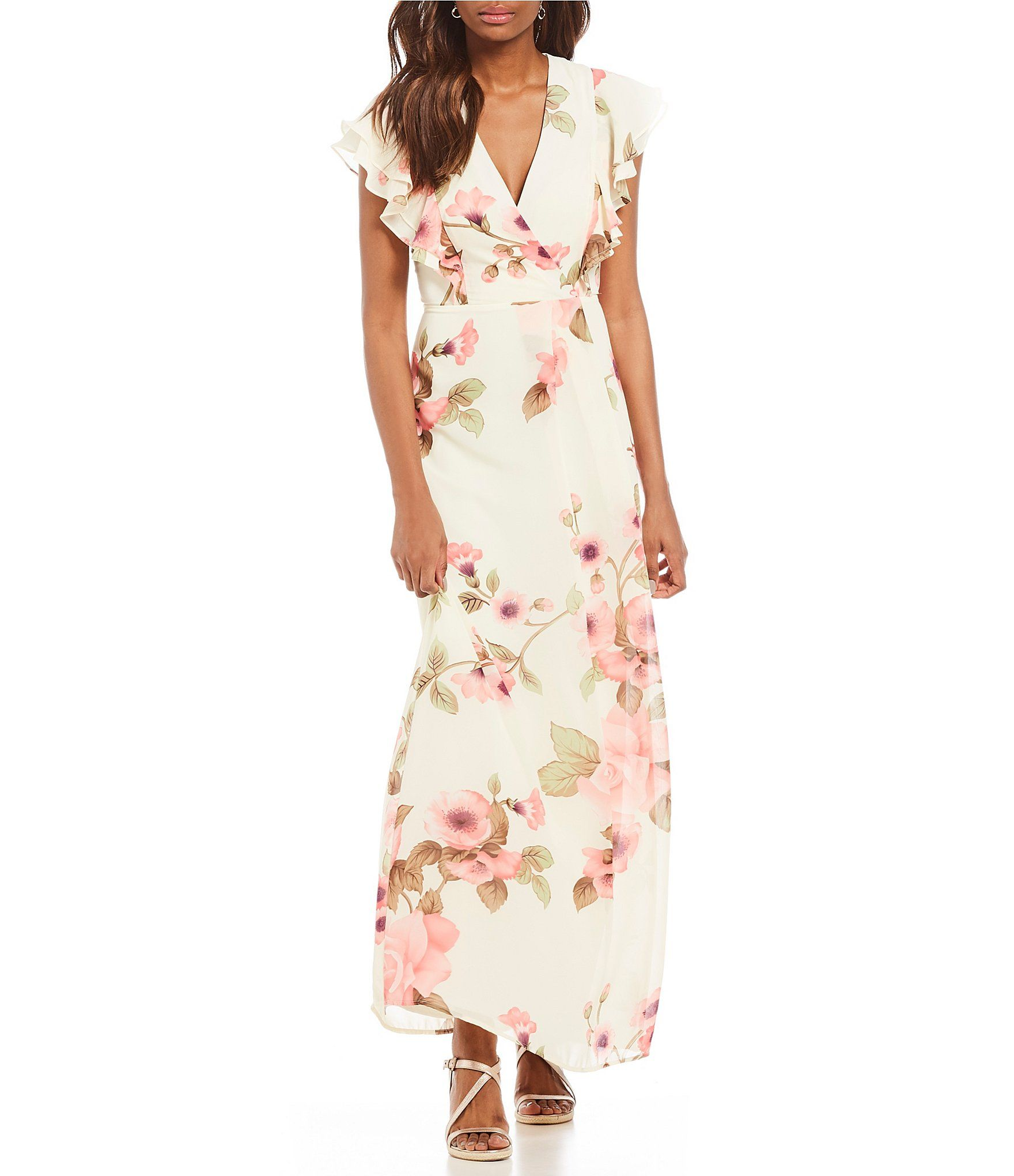 975259d7798d Shop for Leslie Fay Flutter Sleeve Floral Print Maxi Dress at Dillards.com.  Visit Dillards.com to find clothing, accessories, shoes, cosmetics & more.