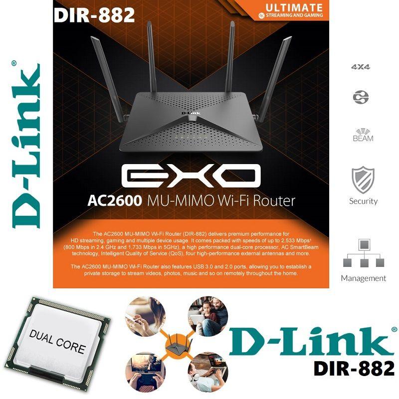 Dlink Dir882 Exo Ac2600 Wireless Mu Mimo Smartbeam Dual Core Processor High Performance 4 Antenna Dlna Media Server Dir 882 Personal Computer Center Game Streaming Wireless Antenna