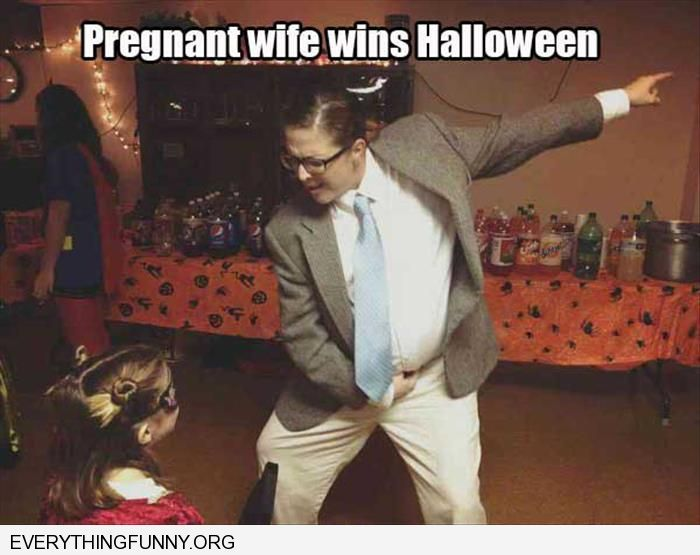 Funny Pregnant Wife Wins Halloween Dresses As Chris Farley Funny