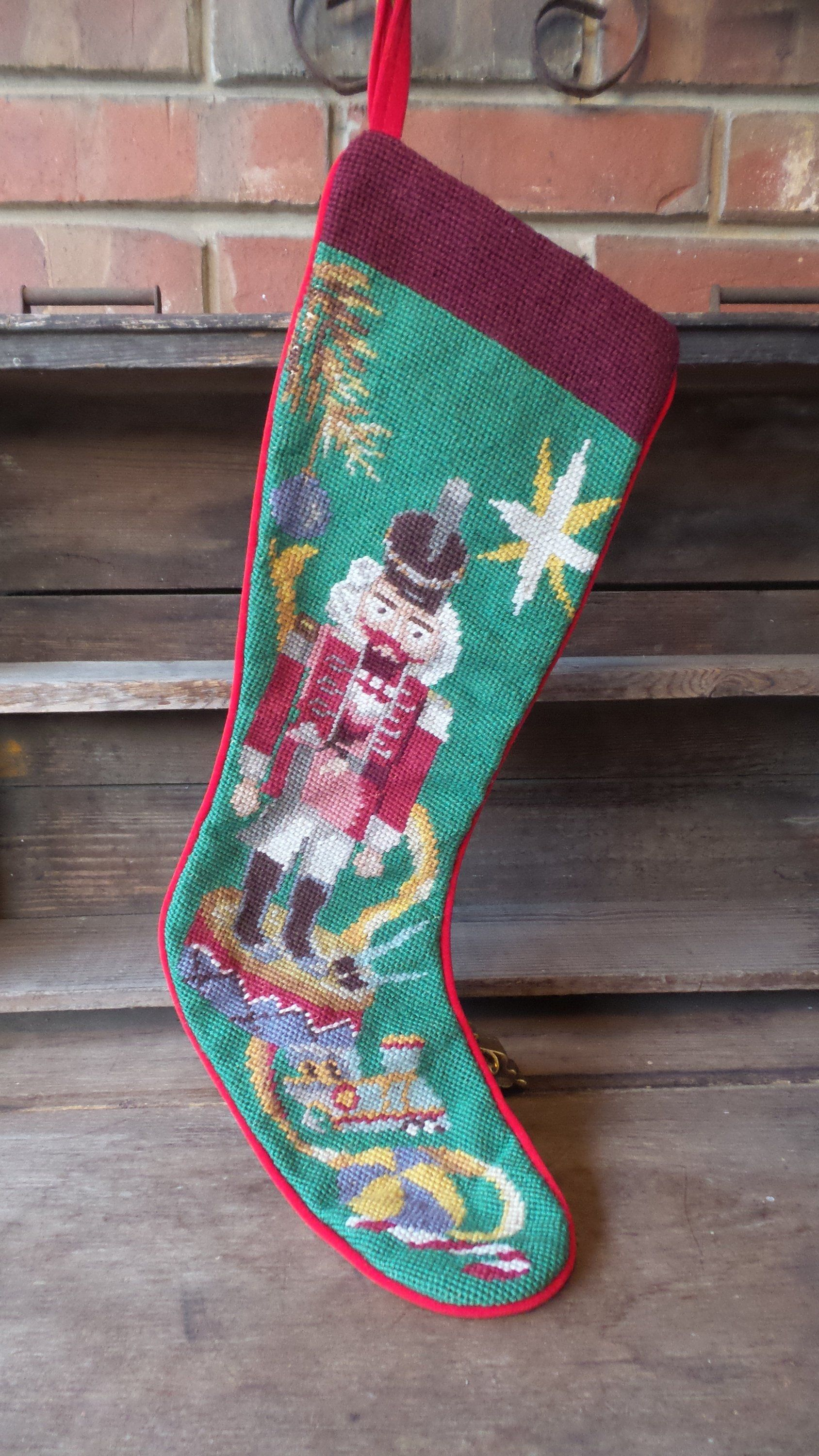 Vintage Needlepoint Christmas Stockings.Needlepoint Nutcracker Stocking Tapestry Stocking Vintage