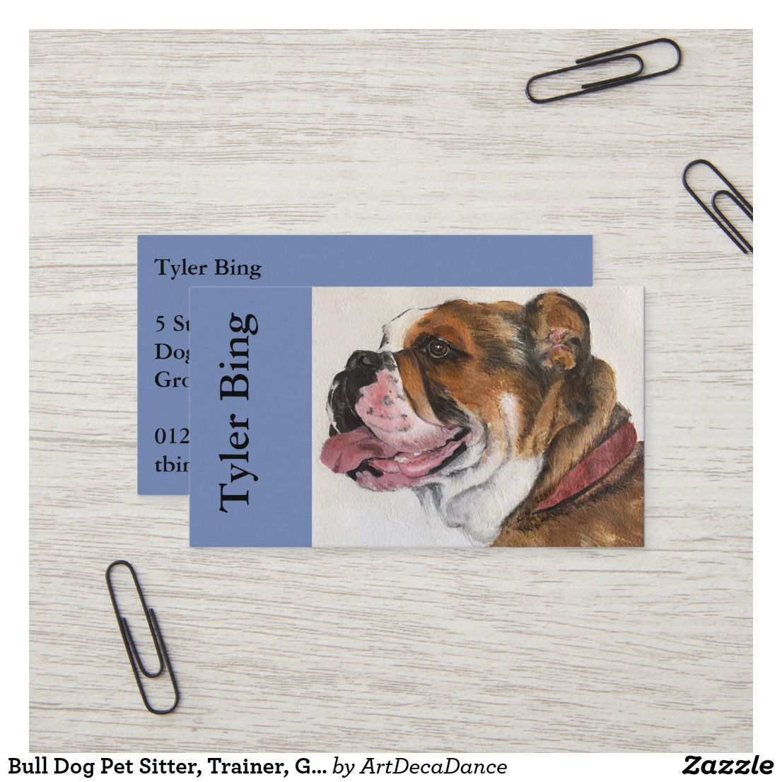 Bull Dog Pet Sitter Trainer Groomer Business Card Zazzle Co Uk