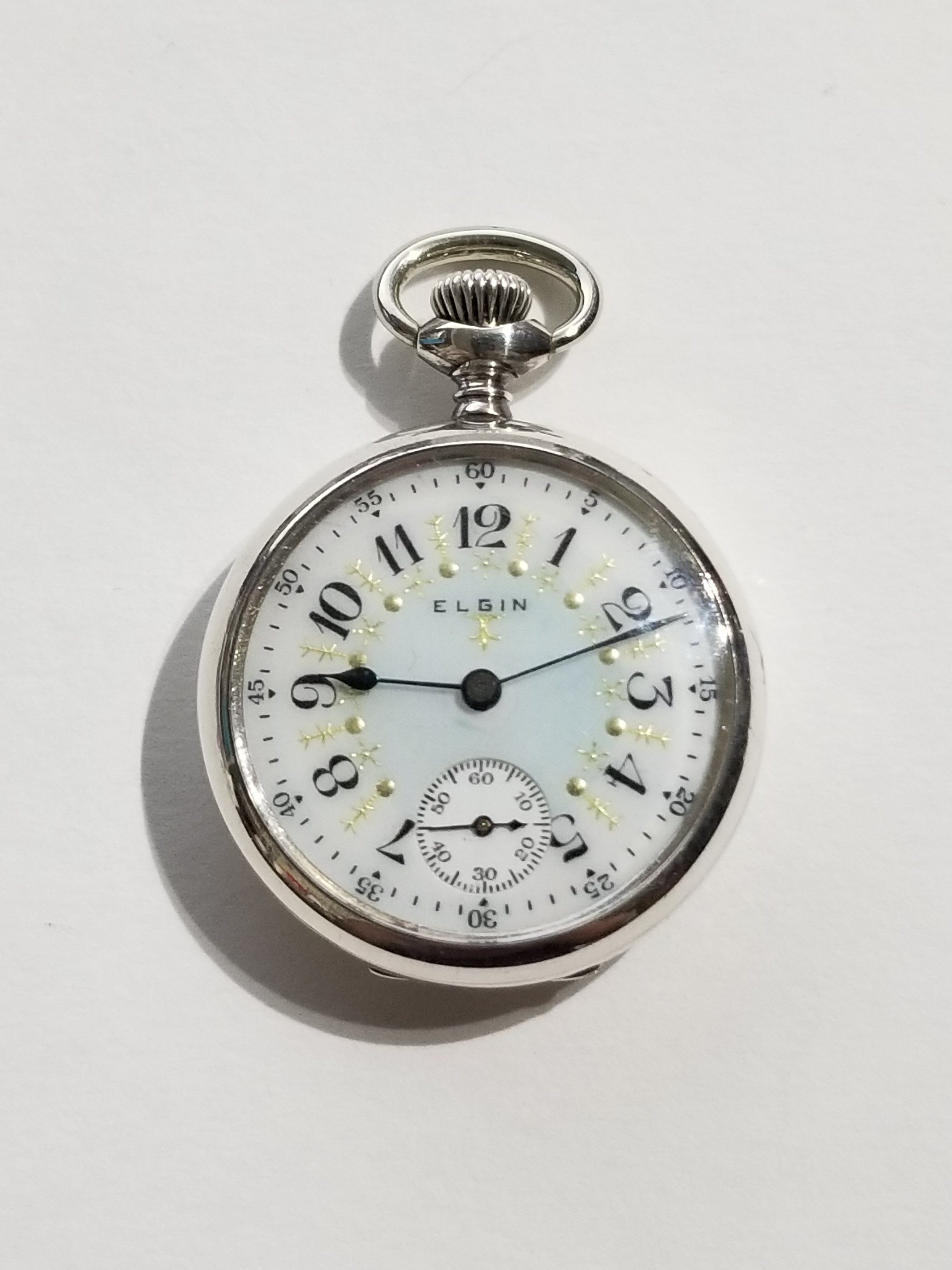 1f9296adf 1916 Antique Pocket Watch Elgin 7 Jewels 3/0 Size Fancy Dial Sterling  Silver Case