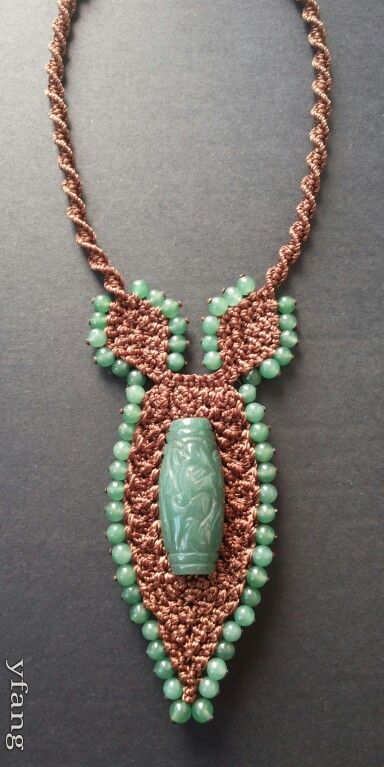 Soft brown macrame necklace with green aventurine