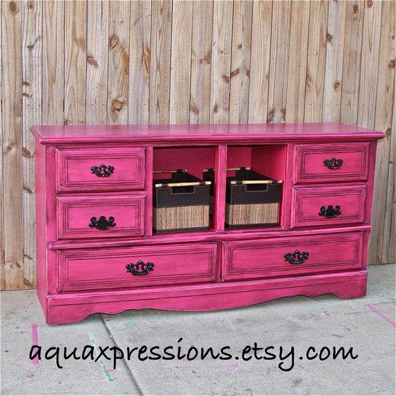 magenta pink dresser distressed furniture dresser tv stand table