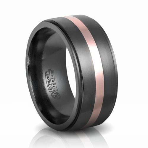 Edward Mirell Black Titanium Rose Gold Wedding Band Black Titanium Wedding Bands Rose Gold Wedding Bands Titanium Wedding Band