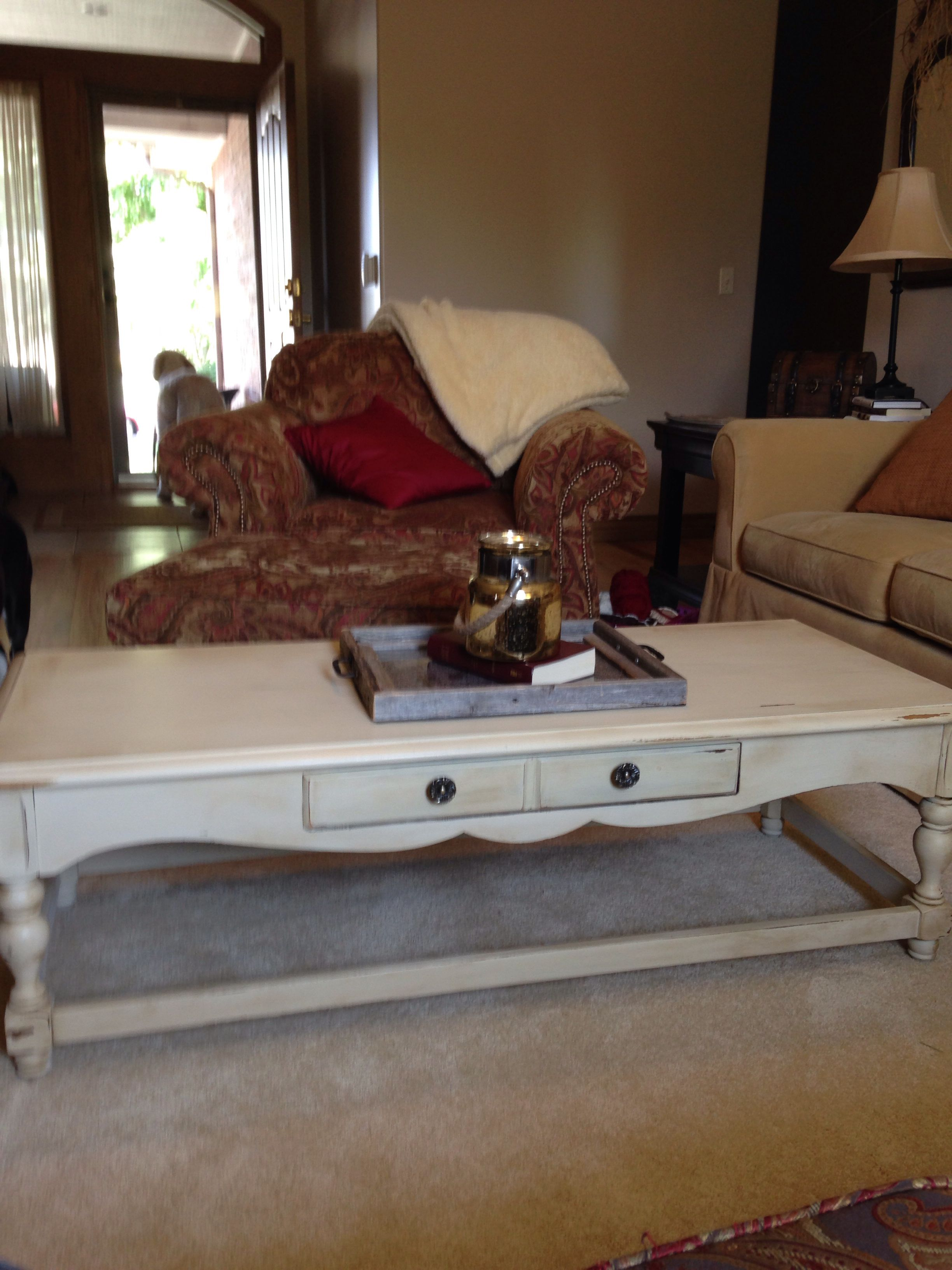 Garage sale coffee table all fixed up