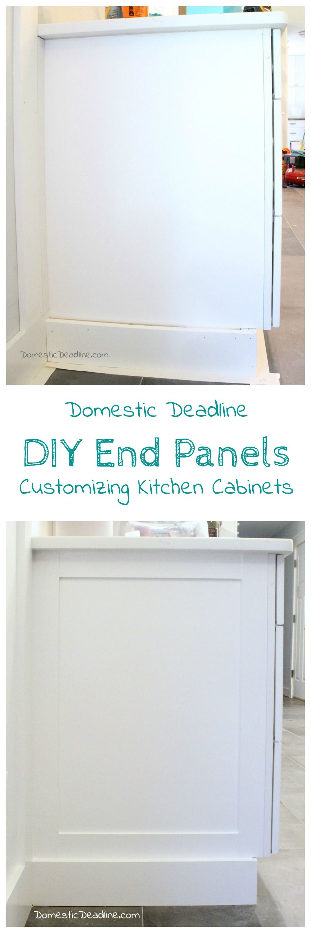 Diy End Panels Cost Effective Solution To Customize Kitchen Cabinets For My Farmhouse Fixer Upper Domestic Deadline