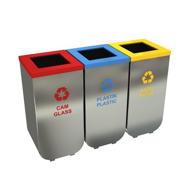 nykoping a modular office recycling garbage bins in stainless steel 3x55l individual trash bins grouped in