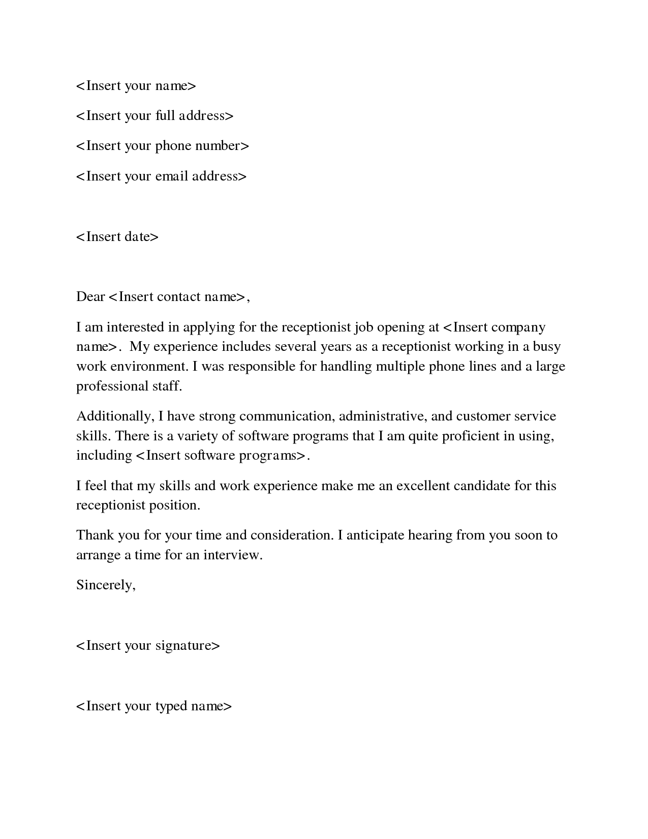 sample cover letter for receptionist job - Template